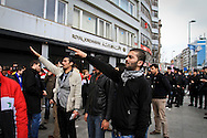 Pro-Assad demonstrators shout slogans and salute images of Bashar al-Assad at a rally outside the Istanbul Congress Centre, where the Second Conference of the Group of Friends of the Syrian People was being held, Istanbul, April 1st 2012. Bradley Secker / ENN