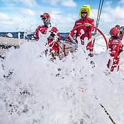 Leg 4, Melbourne to Hong Kong, day 17 on board MAPFRE,  Louis Sinclair, Rob Greenhalgh and Guillermo Altadill (drinking water) on deck during their watch. Photo by Ugo Fonolla/Volvo Ocean Race. 18 January, 2018.