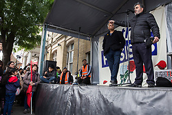 Southall, UK. 27th April 2019. Dilawar Chaudry, activist and restaurant owner, addresses members of the local community and supporters at a rally outside Southall Town Hall to honour the memories of Gurdip Singh Chaggar and Blair Peach on the 40th anniversary of their deaths. Gurdip Singh Chaggar, a young Asian boy, was the victim of a racially motivated attack whilst Blair Peach, a teacher, was killed by the Metropolitan Police's Special Patrol Group during a peaceful march against a National Front demonstration.