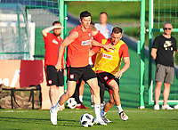 ARLAMOW, POLAND - MAY 30: Robert Lewandowski and Tomasz Kedziora during a training session of the Polish national team at Arlamow Hotel during the second phase of preparation for the 2018 FIFA World Cup Russia on May 30, 2018 in Arlamow, Poland. MB Media