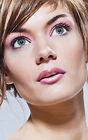 beautiful young caucasian woman close-up portrait face  girl on studio isolated background