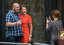 © Licensed to London News Pictures. 11/07/2019. London, UK. KATIE HOPKINS joins Supporters of activist Stephen Yaxley-Lennon Known as Tommy Robinson, as they gather outside The Old Bailey in London ahead of his sentence. The former leader of the English Defence League (EDL) is being sentenced for contempt of court for filming defendants at a trial at Leeds Crown Court and broadcast the video on social media. Photo credit: Ben Cawthra/LNP