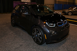 CHARLOTTE, NORTH CAROLINA - NOVEMBER 20, 2014: BMW i3 electric car on display during the 2014 Charlotte International Auto Show at the Charlotte Convention Center.
