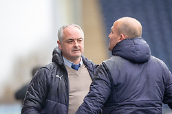 Falkirk's manager Ray McKinnon after Falkirk's Ian McShane scored. Falkirk 1 v 1 Partick Thistle, Scottish Championship game played 16/3/2019 at The Falkirk Stadium.