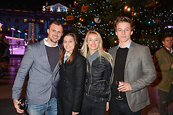 Left to right, ALEX MASLIN, ARIELLE MASLIN, CHARLOTTE MASLIN and JOEL KNIGHT at Skate at Somerset House in association with Fortnum & Mason held on 10th November 2014.