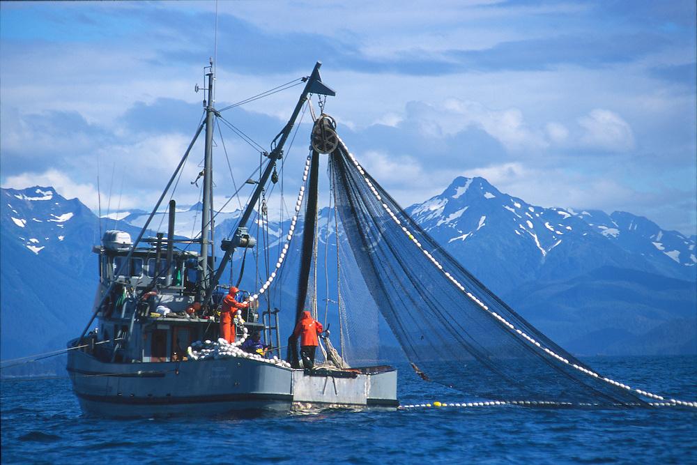 Alaska. Salmon fishing by boat.
