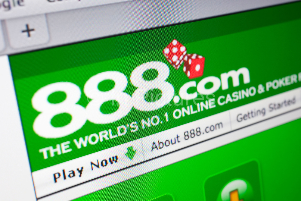 Computer screen showing the website for online gambling and casino site, 888.com