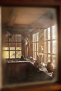 Interior detail shot through window of Berghof Lodge in Bariloche, Argentina