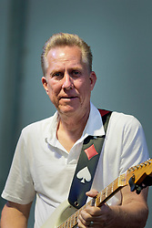 30 April 2015. New Orleans, Louisiana.<br /> The New Orleans Jazz and Heritage Festival. <br /> Anson Funderburgh plays on stage with Eric Lindell.<br /> Photo; Charlie Varley/varleypix.com
