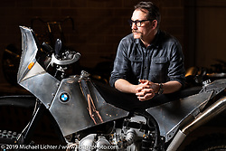 Gregor Halenda with his Dakar BMW, a custom BMW R100GS he built at the Handbuilt Show. Austin, Austin USA. Sunday, April 14, 2019. Photography ©2019 Michael Lichter.