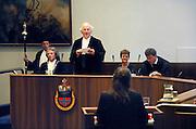 Nederland, Nijmegen, 28-8-2007..Een promotie in de aula aan de Radboud Universiteit. Links de pedel en daarnaast professor Buruma, decaan van de rechtenfaculteit...Foto: Flip Franssen/Hollandse Hoogte