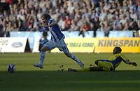 Photo: Matt Bright.<br /> Brighton and Hove Albion v Leeds United. Coca Cola League 1. 20/10/2007.<br /> Jake Robinson of Brighton skips past a tackle from Sebastien Carole of Leeds Utd