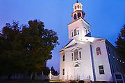 At night, candles light up the Old First Church of Bennington, Vermont, Bennington, New England,Vermont, USA