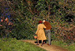 Brad Pitt and Marion Cotillard film scenes for the film Five Seconds Of Silence in Hampstead, north London, Thursday March 31, 2016. The film, set in 1942, features Pitt as a spy who marries a French agent, played by Cotillard. EXPA Pictures © 2016, PhotoCredit: EXPA/ Photoshot/ Johnny Green<br /> <br /> *****ATTENTION - for AUT, SLO, CRO, SRB, BIH, MAZ, SUI only*****