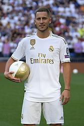 June 14, 2019 - Madrid, Spain - Real Madrid unveil new signing Eden Hazard at Estadio Santiago Bernabeu on June 13, 2019 in Madrid, Spain. (Credit Image: © Oscar Gonzalez/NurPhoto via ZUMA Press)