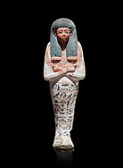 Ancient Egyptian shabtis doll of Nuneb , wood, New Kingdom, 18th Dynasty, (1538-1292 BC), Deir el Medina. Egyptian Museum, Turin. Cat 2676. Grey background. <br /> <br /> Mummiform holding agricultural implements (hoes); good modelling; polychrome <br /> decoration painted on white gesso: Wig painted black, face and hands dark red; hoes <br /> painted red; large usekh collar painted red and black. Hieroglyphs painted black. Text: Painted hieroglyphs, 7 rows around body. Chapter VI of the Book of the Dead. Tomb TT291 .<br /> <br /> If you prefer to buy from our ALAMY PHOTO LIBRARY  Collection visit : https://www.alamy.com/portfolio/paul-williams-funkystock/ancient-egyptian-art-artefacts.html  . Type -   Turin   - into the LOWER SEARCH WITHIN GALLERY box. Refine search by adding background colour, subject etc<br /> <br /> Visit our ANCIENT WORLD PHOTO COLLECTIONS for more photos to download or buy as wall art prints https://funkystock.photoshelter.com/gallery-collection/Ancient-World-Art-Antiquities-Historic-Sites-Pictures-Images-of/C00006u26yqSkDOM