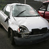 The car  in which a 19 year old girl was killed in a fatal road traffic accident near Labasheda ,Co Clare on Thursday morning.<br /> <br /> <br /> <br /> NO BYLINE PLEASE<br /> <br /> (Journalist Pat Flynn is sending in Copy)