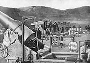 Russo-Japanese War 1904-1905:  Battery of Japanese siege guns bombarding Port Arthur, 8 October 1904.
