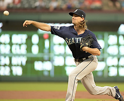 September 13, 2017 - Arlington, TX, USA - Seattle Mariners starting pitcher Mike Leake works during the first inning against the Texas Rangers at Globe Life Park in Arlington, Texas, on Wednesday, Sept. 13, 2017. (Credit Image: © Max Faulkner/TNS via ZUMA Wire)