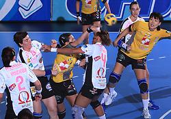 Andrea Lekic (77) and Liudmila Bodnieva (14) at handball match of 2nd Round of EHF Women`s Championsleague between RK Krim Mercator (SLO) and Metz Handball (FRA), in Arena Kodeljevo, Ljubljana, Slovenia, on November 9, 2008. Metz  won match against RK Krim Mercator with 31:26.
