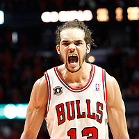 16 April 2011:  Chicago Bulls center Joakim Noah (13) reacts during the Chicago Bulls 104-99 victory over the Indiana Pacers, during the game 1 of the Eastern Conference first round at the United Center, Chicago, Illinois, USA.