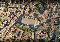 Aerial view above of Collégiale Notre-Dame-des-Anges historical church, L'Isle-sur-la-Sorgue, France.