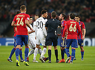 Tottenham's Dele Alli squares up to CSKA Moscow's Zoran Tosic during the Champions League group match at Wembley Stadium, London. Picture date December 7th, 2016 Pic David Klein/Sportimage