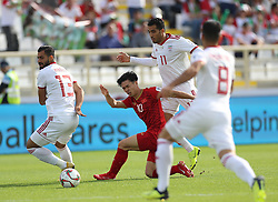 ABU DHABI, Jan. 12, 2019  Vietnam's Nguyen Cong Phuong (2nd L) competes during the 2019 AFC Asian Cup UAE 2019 group D match between Vietnam and Iran in Abu Dhabi, the United Arab Emirates (UAE), Jan. 12, 2019. Iran won 2-0. (Credit Image: © Xinhua via ZUMA Wire)
