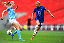 Gemma Bonner of Manchester City Women blocks a pass from Jonna Andersson of Chelsea Women- Mandatory by-line: Nizaam Jones/JMP - 29/08/2020 - FOOTBALL - Wembley Stadium - London, England - Chelsea v Manchester City - FA Women's Community Shield