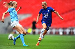 Gemma Bonner of Manchester City Women blocks a pass from Jonna Andersson of Chelsea Women- Mandatory by-line: Nizaam Jones/JMP - 29/08/2020 - FOOTBALL - Wembley Stadium - London, England - Chelsea v Manchester City - FA Women's Community Shield