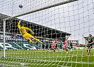 Plymouth Argyle Goalkeeper Michael Cooper (1) makes a diving top corner finger tips save  during the EFL Sky Bet League 1 match between Plymouth Argyle and Sunderland at Home Park, Plymouth, England on 1 May 2021.
