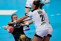 08-12-2019 JAP: Netherlands - Germany, Kumamoto<br /> First match Main Round Group1 at 24th IHF Women's Handball World Championship, Netherlands lost the first match against Germany with 23-25. / Merel Freriks #19 of Netherlands, Emily Bölk #20 of Germany