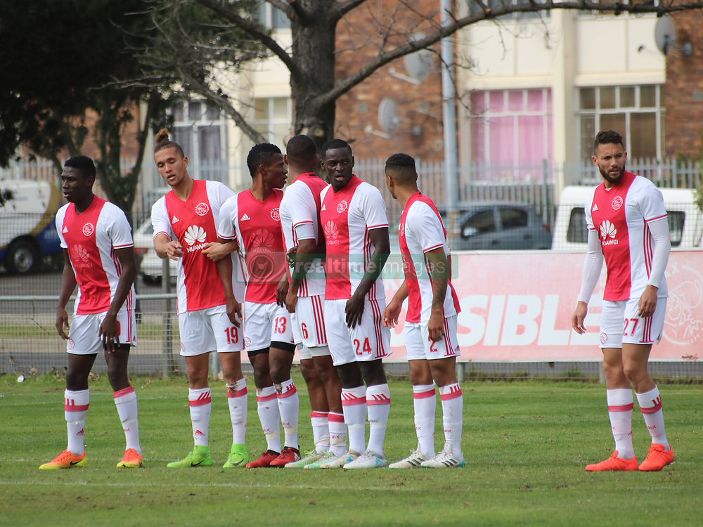 Ajax Cape Town defensive wall including Sedwyn George, Rodrick Kabwe and Roscoe Pietersen in a friendly game v NFD club Cape Town All Stars at Ikamva on August 10, 2017 in Cape Town, South Africa.