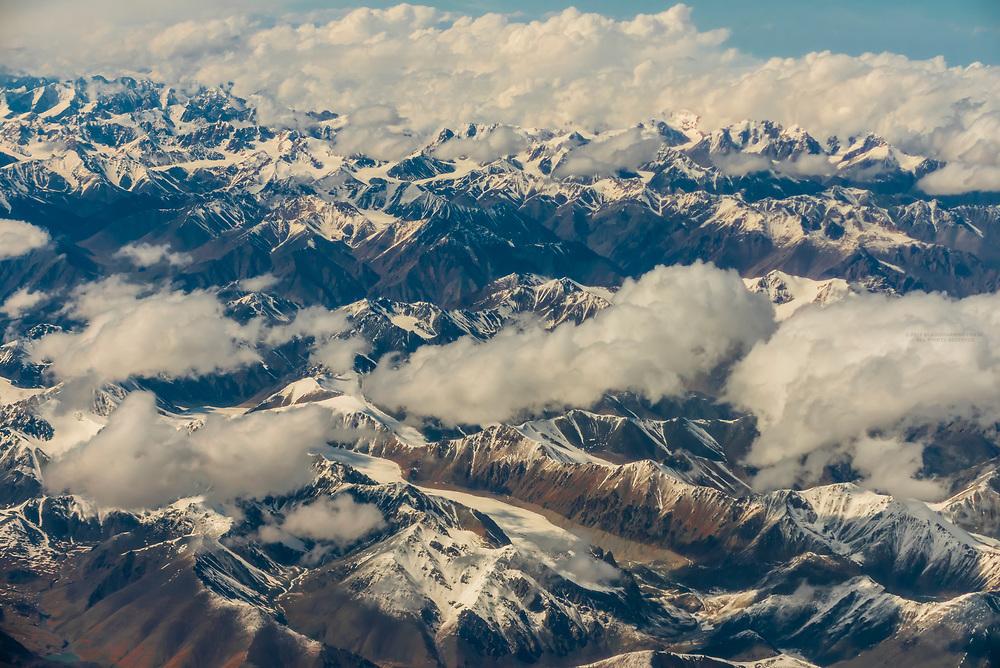 Aerial view, Tian Shan mountains, near Urumqi, Xinjiang Province, China.