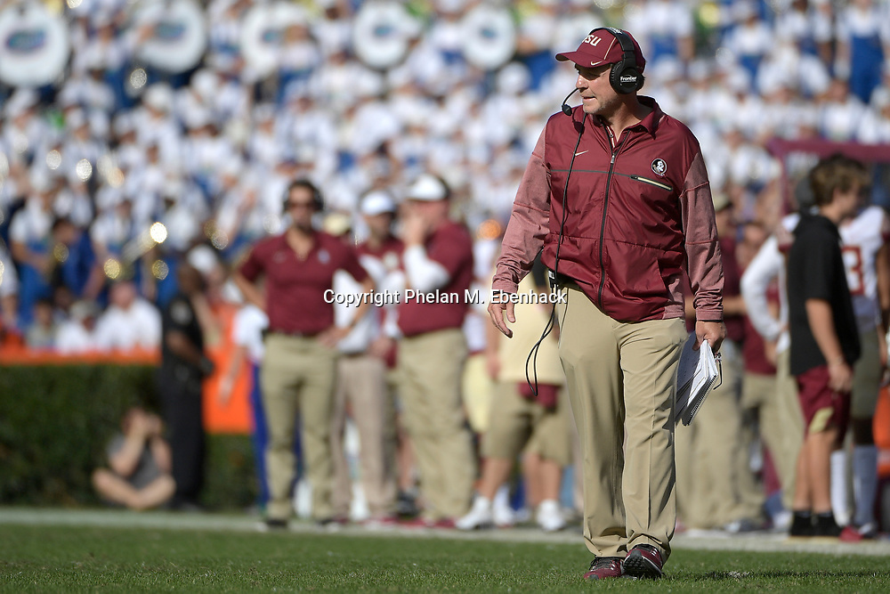 Florida State head coach Jimbo Fisher watches from the sideline during the second half of an NCAA college football game against Florida Saturday, Nov. 25, 2017, in Gainesville, Fla. FSU won 38-22. (Photo by Phelan M. Ebenhack)