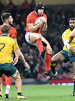 Rugby Union - 2017 Under Armour Series (Autumn Internationals) - Wales vs. Australia<br /> <br /> Leigh Halfpenny of Wales leaps for the ball, at The Principality Stadium (Millennium Stadium).<br /> <br /> COLORSPORT/WINSTON BYNORTH