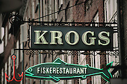 Copenhagen, Denmark. fish restaurant sign: Krogs, fiskerestaurant""