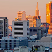 View of downtown San Francisco and Financial District in the early evening from the Mission District's Dolores Park.