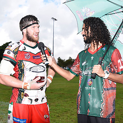 BRISBANE, AUSTRALIA - MARCH 19: Brendon Gibb receives the man of the match award after the Round 3 QRL Intrust Super Cup match between Wynnum Manly and Tweed Heads Seagulls at Ron Stark Oval on March 18, 2017 in Brisbane, Australia. (Photo by Patrick Kearney/Wynnum Manly Seagulls)