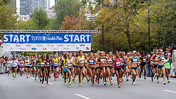 Tufts Health Plan 10K for Women start, elite women lead out 8000 plus runners in the 38th edition of race