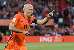 09.06.2017, De Kuip Stadium, Rotterdam, NED, FIFA WM 2018 Qualifikation, Niederlande vs Luxemburg, Gruppe A, im Bild Arjen Robben of Netherlands has scored 1-0 // Arjen Robben of Netherlands has scored 1-0 during the FIFA World Cup 2018, group A qualifying match between Netherlands and Luxemburg at the De Kuip Stadium in Rotterdam, Netherlands on 2017/06/09. EXPA Pictures © 2017, PhotoCredit: EXPA/ Focus Images/ Joep Joseph Leenen<br /> <br /> *****ATTENTION - for AUT, GER, FRA, ITA, SUI, POL, CRO, SLO only*****