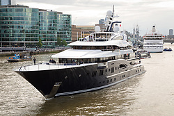 © Licensed to London News Pictures. 09/06/2019. London, UK.  The luxury 279 feet long (85 metre) superyacht Solandge arrives in London on the River Thames this evening and is the first superyacht to visit the pool of London in the capital this year.  Superyacht Solandge is believed to have originally been built for the Russian billionaire Alexander Girda in 2013, superyacht Solandge is now rumoured to be owned by a Saudi Royal after being sold in 2017 for a reported EUR155m in the biggest yacht brokerage deal of 2017. Solandge is available for charter with rates starting from over EUR1m plus expenses per week and has numerous luxuries onboard including an outdoor cinema and nightclub with DJ deck, indoor and outdoor gyms, dive centre, tender garage, sauna, swimming pool, bar with Bechstein piano and has accommodation for 16 guests in eight elegant staterooms..  Photo credit: Vickie Flores/LNP