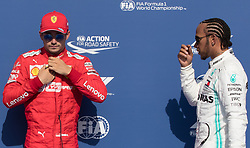 August 31, 2019, Spa, Belgium: Ferrari's Monegasque driver Charles Leclerc and Mercedes' British driver Lewis Hamilton pictured after the qualification sessions ahead of the Spa-Francorchamps Formula One Grand Prix of Belgium race, in Spa-Francorchamps, Friday 30 August 2019. (Credit Image: © Benoit Doppagne/Belga via ZUMA Press)