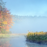 A foggy autumn sunrise over a wetland in New London, New Hampshire.  All Content is Copyright of Kathie Fife Photography. Downloading, copying and using images without permission is a violation of Copyright.