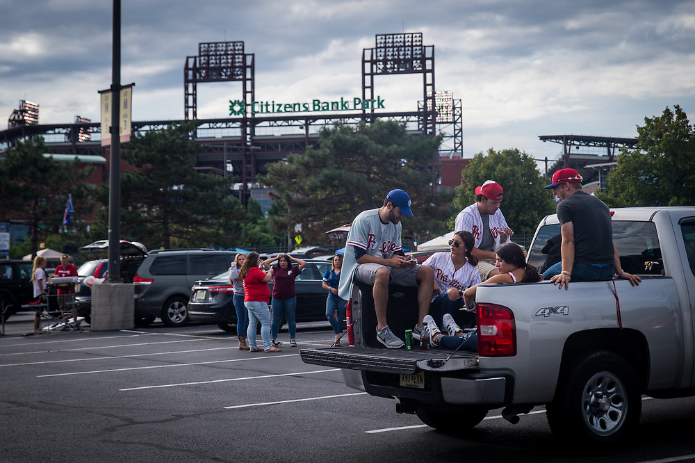 Fans tailgate before a game against the Braves at Citizens Bank Park.