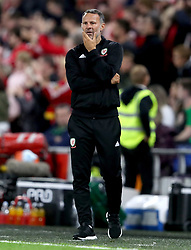 Wales manager Ryan Giggs gestures on the touchline during the League B, Group four match at Cardiff City Stadium.