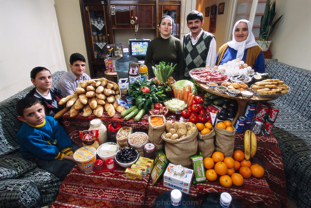 The Çelik family in the main room of their three-room apartment in Istanbul, Turkey, with a week's worth of food. Mêhmêt Çelik, 40, stands between his wife Melahat, 33 (in black), and her mother, Habibe Fatma Kose, 51. From the book Hungry Planet: What the World Eats (Model Released)