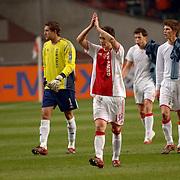 NLD/Amsterdam/20060222 - Voetbal, Champions League, Ajax - FC Internazionale, thomas vermaelen, Maarten Stekelenburg en Klaas Jan Huntelaar