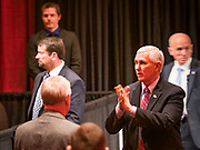 08 MAY 2020 - WEST DES MOINES, IOWA: Vice President MIKE PENCE points to people in the crowd after speaking at Hy-Vee corporate headquarters Friday. He visited Hy-Vee, a regional grocery store chain, to talk about the security of the food supply system. The Governor of Iowa started reopening businesses in the state even though coronavirus (SAR-CoV-2) infections are continuing to rise. President Trump signed an executive order on April 28 to compel meat packing plants to stay open as a part of critical infrastructure, but in Iowa many plants remain closed. The meat packing industry is the main source of COVID-19 infections in rural parts of Iowa. Iowa has recorded 11,457 cases of  COVID-19 and 243 deaths caused by virus.           PHOTO BY JACK KURTZ
