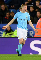 Kevin De Bruyne of Manchester City celebrates - Mandatory by-line: Alex James/JMP - 18/11/2017 - FOOTBALL - King Power Stadium - Leicester, England - Leicester City v Manchester City - Premier League